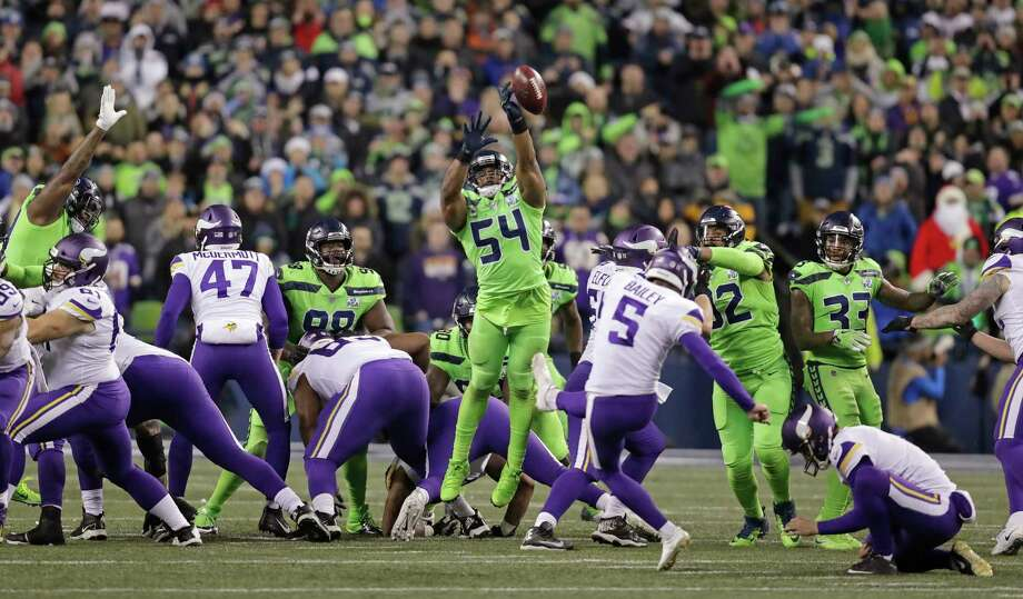 Seattle Seahawks' Bobby Wagner (54) leaps to block a field goal attempt by Minnesota Vikings' Dan Bailey in the second half of an NFL football game, Monday, Dec. 10, 2018, in Seattle. (AP Photo/Stephen Brashear) Photo: Stephen Brashear / Copyright 2018 The Associated Press. All rights reserved.