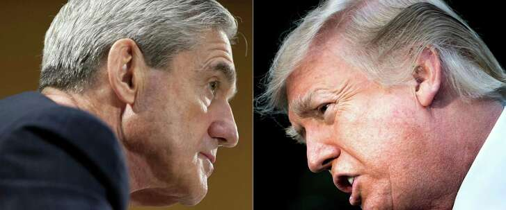 This combination of picturesshows file photos of  Robert Mueller (left)  and President Donald Trump.
