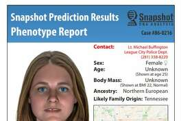 A digital composite image and DNA analysis released by the League City Police Department of a woman whose body was found in a field near Calder Road in 1986. The analysis indicates that the woman had family that may have originated in Tennessee.