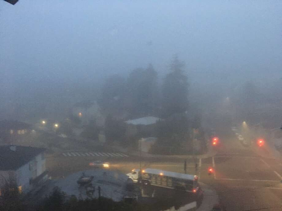 Thick fog socked in the Bay Area on Tuesday morning Dec. 11, 2018. Photo: SFGate / Douglas Zimmerman