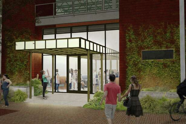 A rendering by the Austin firm Clayton & Little Architects of the front entrance of Savor, the Culinary Institute of America-San Antonio's new student-staffed restaurant scheduled to open in January at the former Sandbar Fishhouse & Market location at the Pearl.