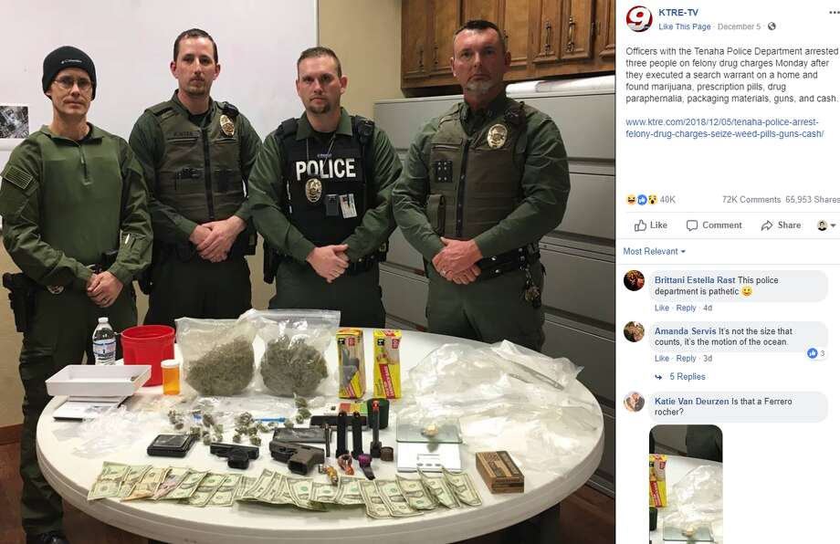 A flood of Facebook users poked fun at a photo of illicit items seized during a recent drug bust, which netted two pounds of marijuana, prescription pills and guns. Photo: Facebook