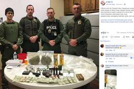 A flood of Facebook users poked fun at a photo of illicit items seized during a recent drug bust, which netted two pounds of marijuana, prescription pills and guns.