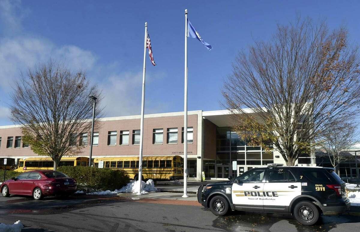 Woodbridge, Connecticut, November 16, 2018: Amity High School in Woodbridge.