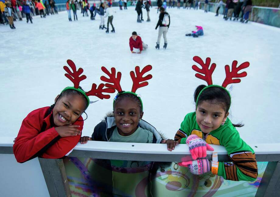 Children participate in the 3rd annual Year Of Joy Holiday Ice Skating Party at the ICE powered by Green Mountain Energy at Discovery Green in downtown Houston, Monday, Dec. 10, 2018. Photo: Mark Mulligan, Staff Photographer / © 2018 Mark Mulligan / Houston Chronicle