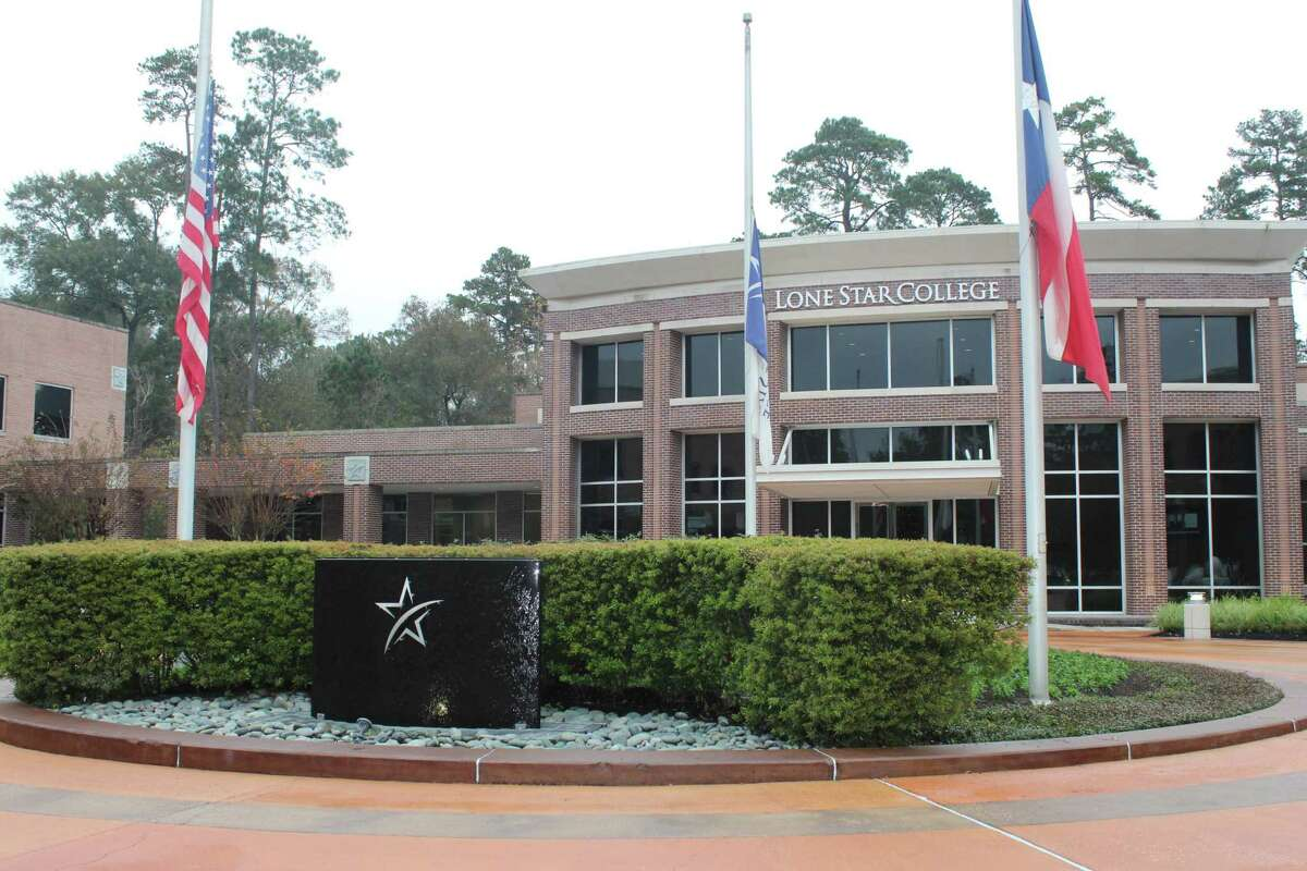 The Lone Star College System Office along Research Forest Drive in The Woodlands is shown.