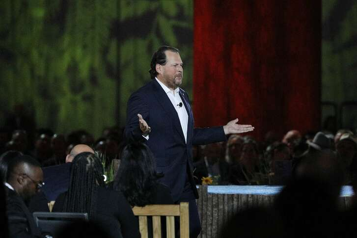 Marc Benioff, Salesforce co-CEO , speaks during the keynote at Dreamforce 2018 on Tuesday, September 25,  2018 in San Francisco, Calif.