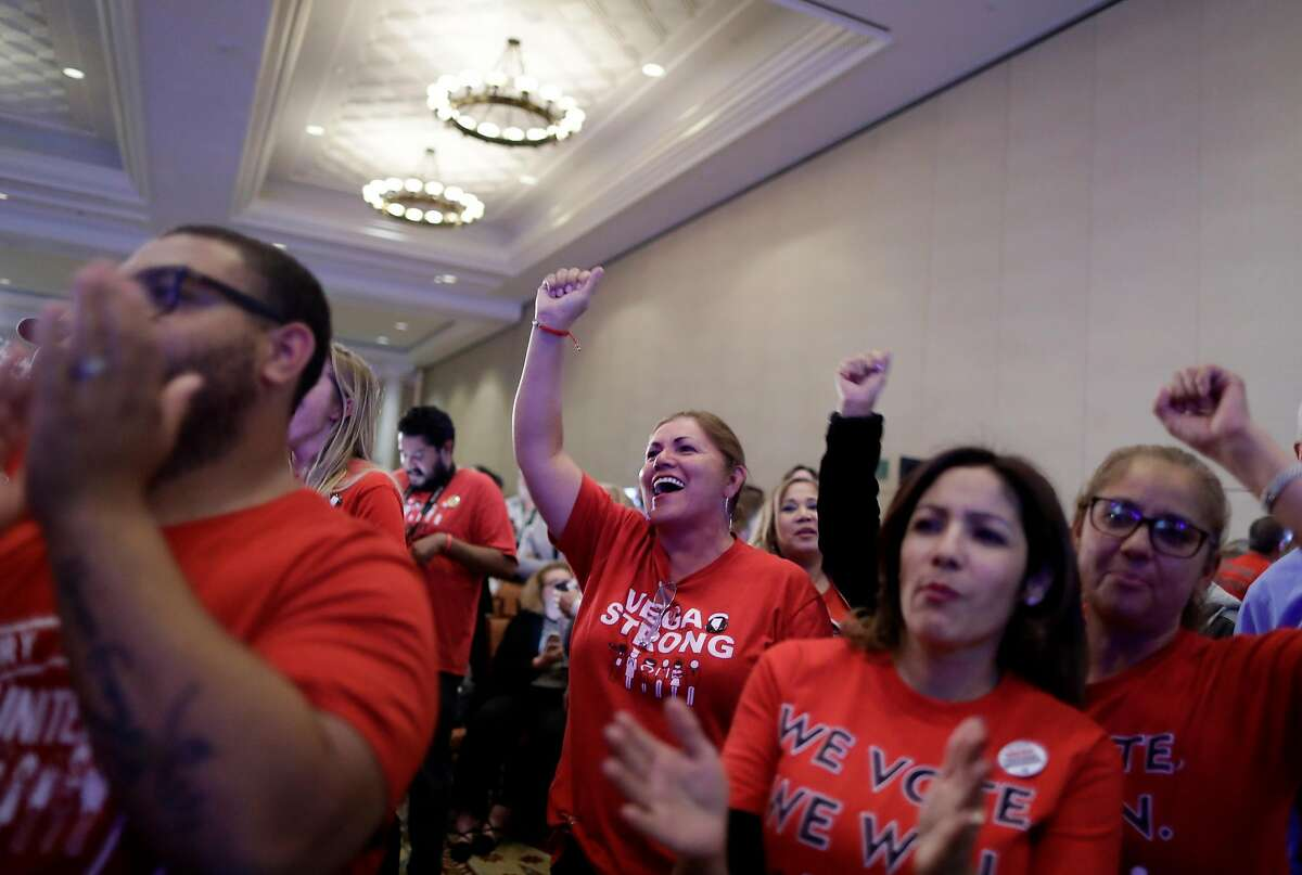 FILE-- Democrats gather for an election night party in Las Vegas, Nov. 6, 2018. Women ran and won in record numbers this year, but the ultimate goal, activists say, is to achieve parity with men in Congress. (Isaac Brekken/The New York Times)