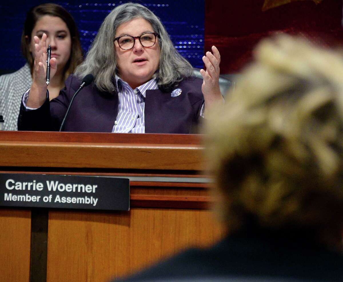 Assemblywoman Carrie Woerner questions Susan Kayne, founder and president of the Unbridled Thoroughbred Foundation during an Assembly hearing on regulation of the gaming industry at the Capitol Tuesday Dec. 11, 2018 in Albany, NY. (John Carl D'Annibale/Times Union)