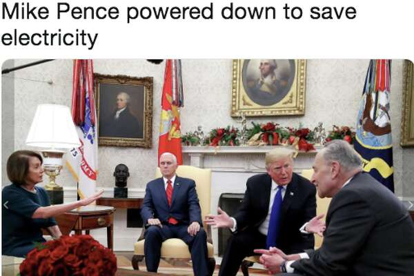 Mike Pence sat very still while Trump, Pelosi and Schumer vociferously debated. Twitter, predictably, had some fun.