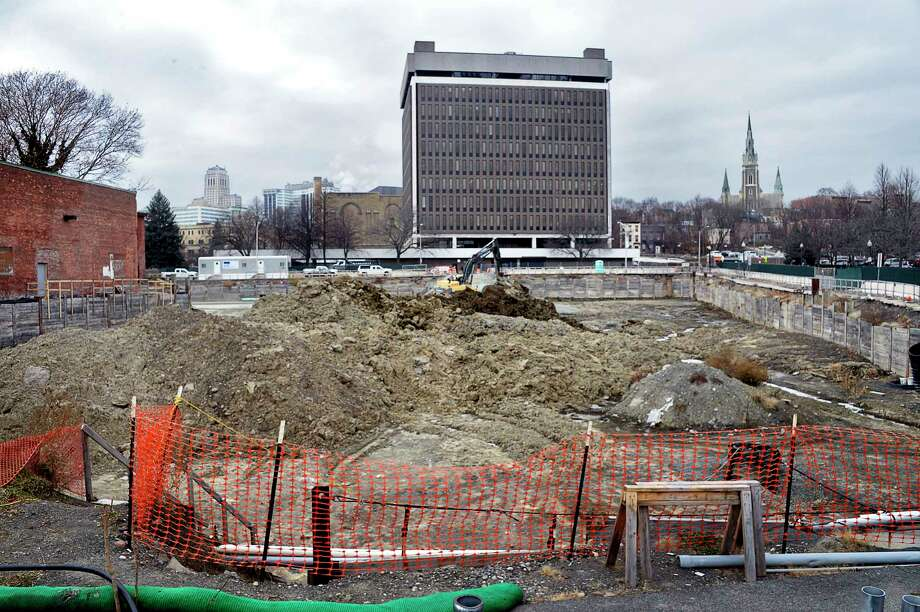 Construction at the corner of Broadway and Spencer Street at Quackenbush Square continues on Broadway Tuesday Dec. 11, 2018 in Albany, NY.  (John Carl D'Annibale/Times Union) Photo: John Carl D'Annibale, Albany Times Union