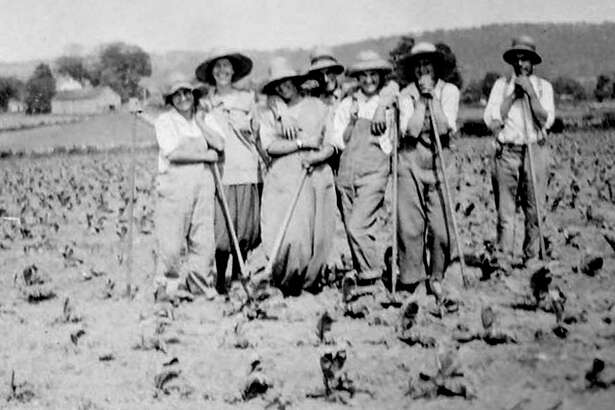 """New Milford and surrounding towns have a rich farming history. For the opportunity to be photographed, good-humored farm folks in 1918 take a break from their labors in a field along Park Lane (now Route 202) in New Milford. If you have a """"Way Back When"""" photograph you'd like to share, contact Deborah Rose at drose@newstimes.com or 860-355-7324."""