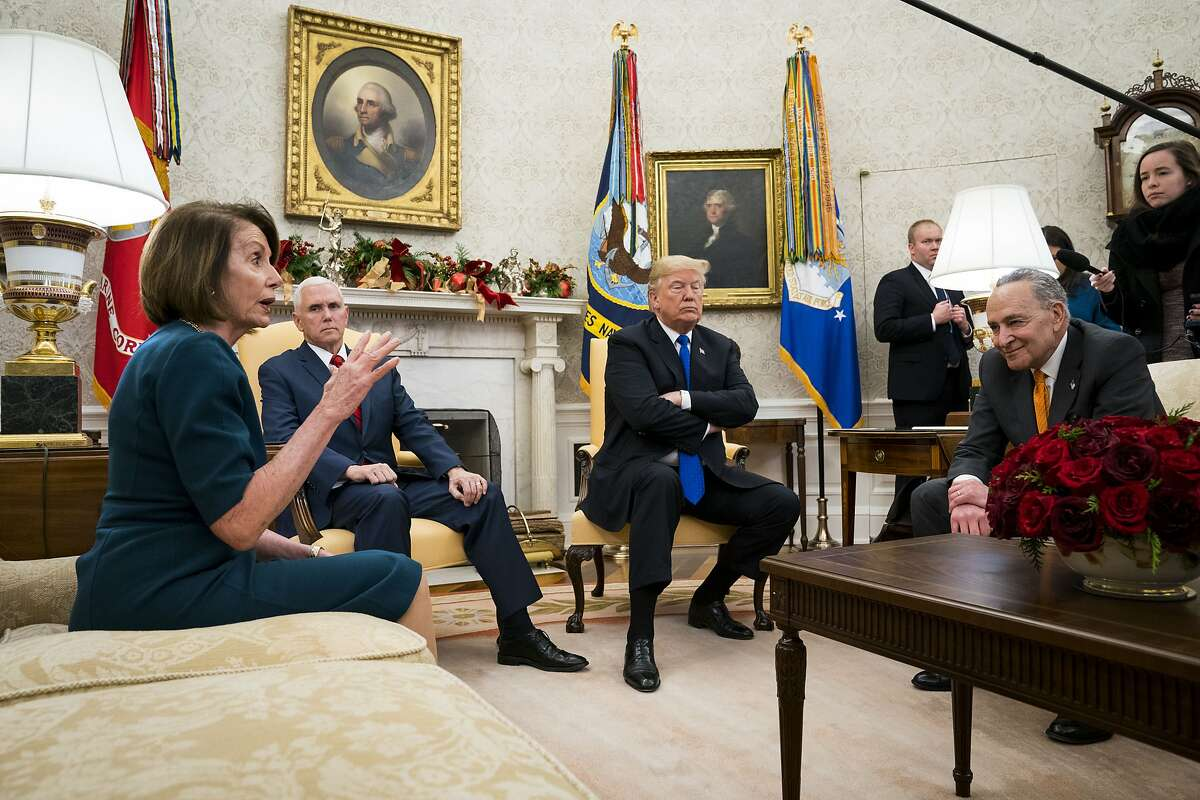 President Donald Trump and Vice President Mike Pence meet with House Minority Leader Nancy Pelosi (D-Calif.) and Senate Minority Leader Chuck Schumer (D-N.Y.) at the White House in Washington, Dec. 11, 2018. In an extraordinarily public altercation with Democratic congressional leaders, Trump vowed here to block full funding for the government if they refused his demand for a wall, saying he was