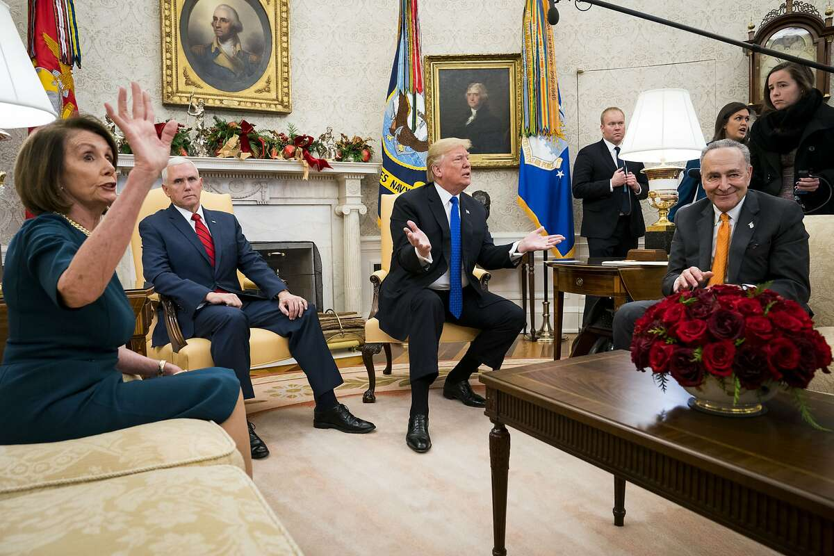 President Donald Trump and Vice President Mike Pence meet with House Minority Leader Nancy Pelosi (D-Calif.) and Senate Minority Leader Chuck Schumer (D-N.Y.) at the White House in Washington, on Dec. 11, 2018.