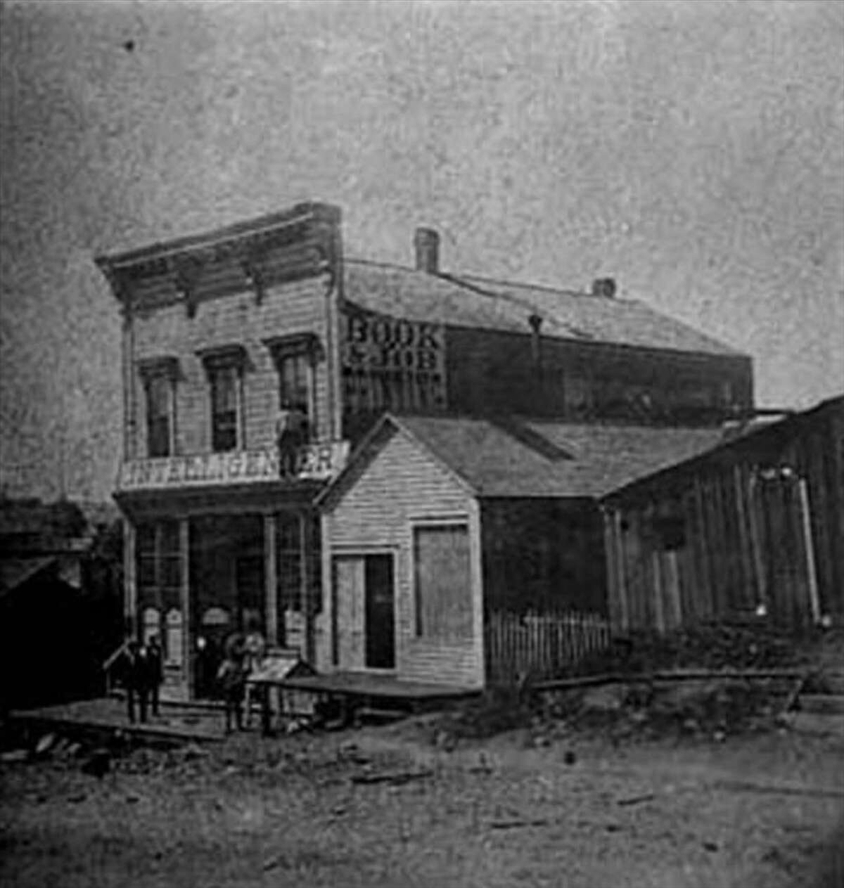 The home of the Weekly Intelligencer in 1874 on First Avenue just south of Cherry Street.