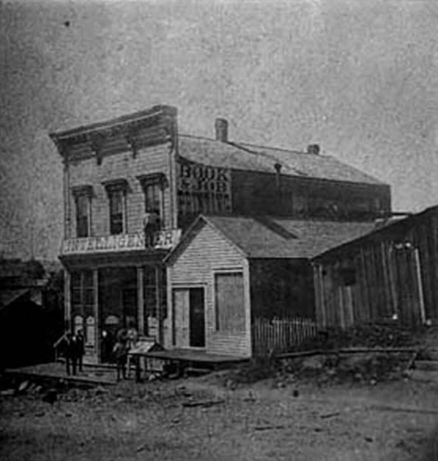 The home of the Weekly Intelligencer in 1874 on First Avenue just south of Cherry Street. Photo: UW Special Collections