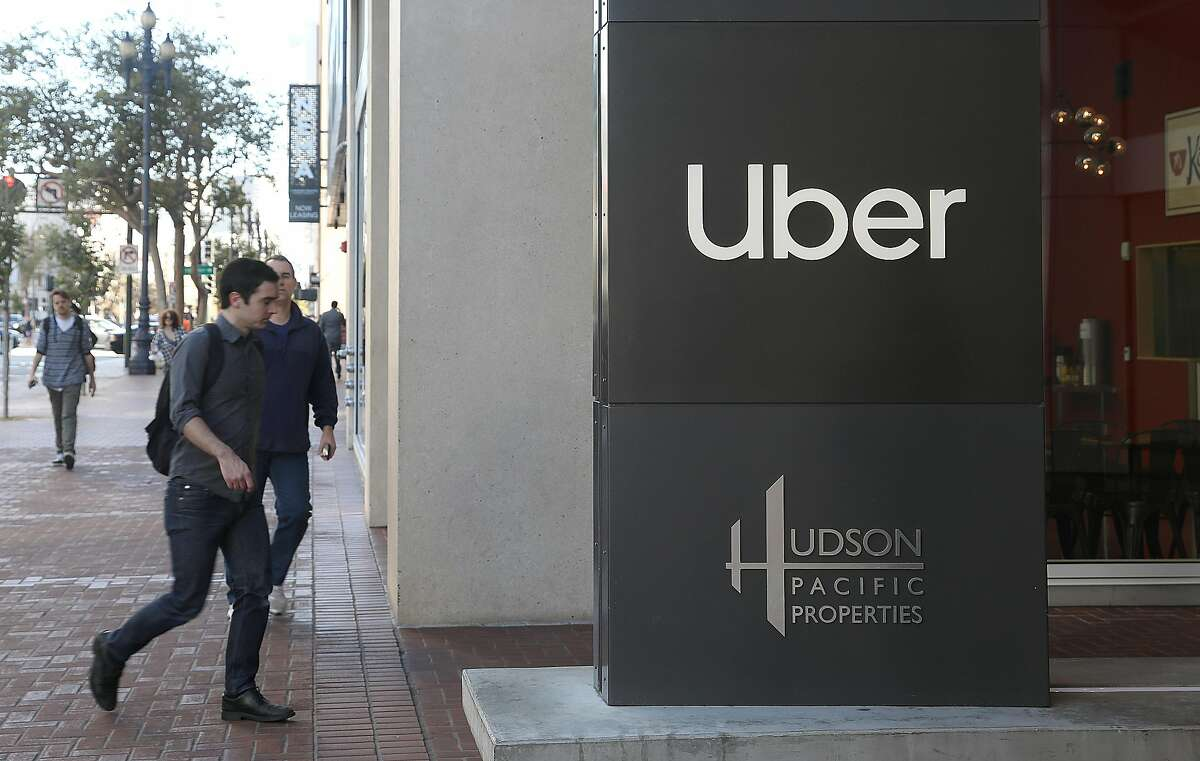 Sign seen outside Uber's HQ at 1455 Market on Monday, Oct. 15, 2018 in San Francisco, Calif.