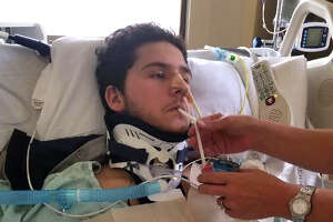 """In this June 1, 2018 photo, David Jacob Anzaldua eats """"real food"""" for the first time since the accident. (Courtesy photos)"""