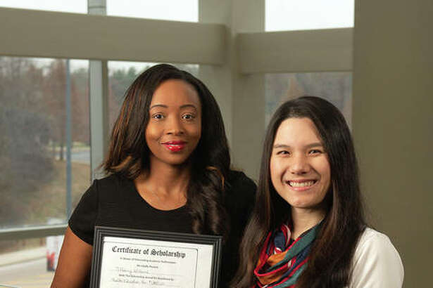 SIUE senior Tiffany Williams, left, was nominated for the ISOPHE Student Scholarship by her faculty mentor, Alice Ma, PhD.
