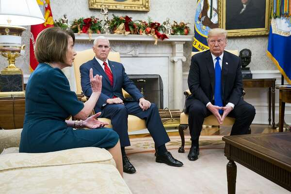 "President Donald Trump and Vice President Mike Pence meet with House Minority Leader Nancy Pelosi (D-Calif.) and Senate Minority Leader Chuck Schumer (D-N.Y.) (not pictured) at the White House in Washington, Dec. 11, 2018. In an extraordinarily public altercation with Democratic congressional leaders, Trump vowed here to block full funding for the government if they refused his demand for a wall, saying he was ""proud to shut down the government for border security."" (Doug Mills/The New York Times)"