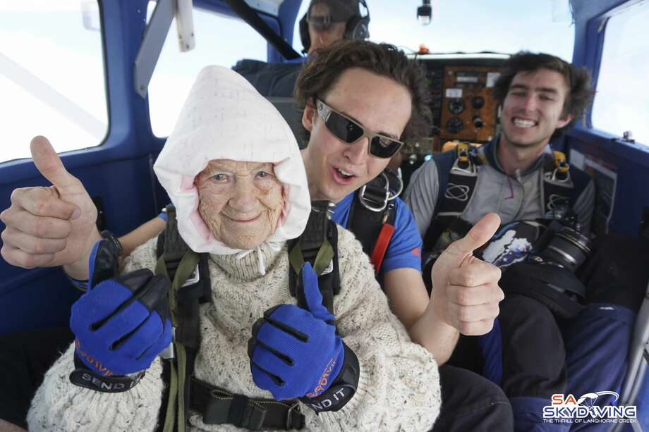 In this Dec. 9, 2018 photo, Irene O'Shea, bottom, skydives in Australia. A 102-year-old woman has completed a world record charity skydive in the Australian state of South Australia. Irene O'Shea became the oldest female skydiver on Sunday when she took part in the jump in the town of Langhorne Creek. Photo: AP