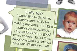 The Bethel High School's 2011 yearbook included a baby photo of Emily Todd and a message from the graduate thanking her friends and family for making her high school experience memorable.