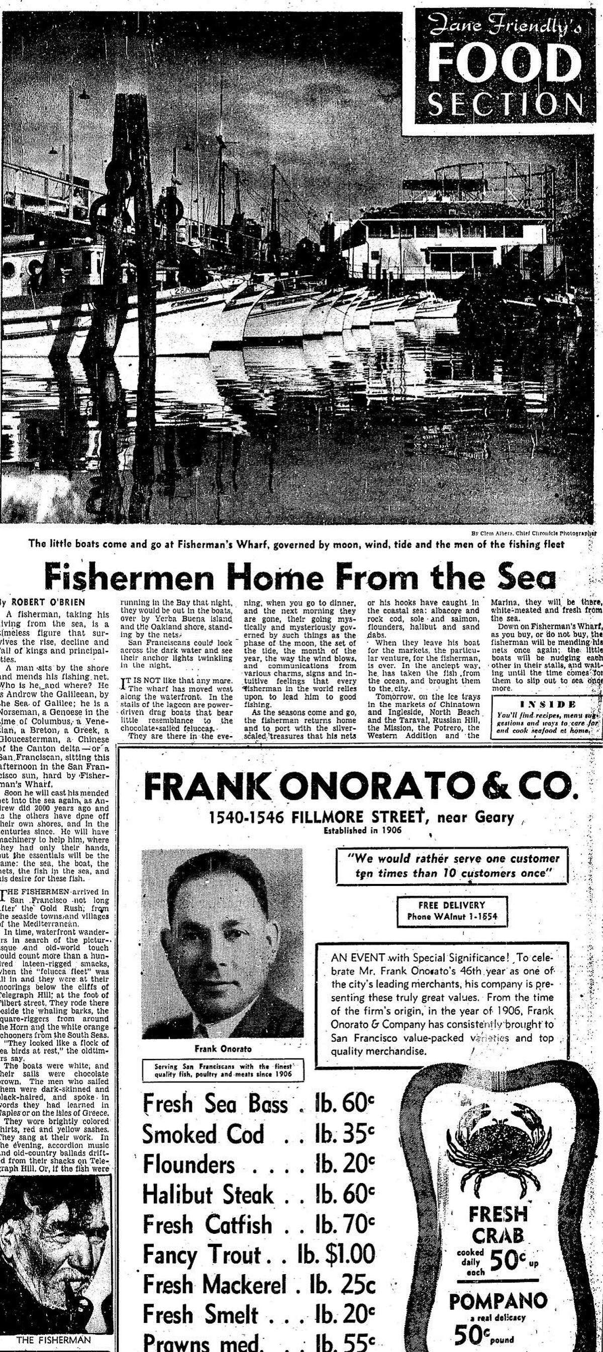 A Chronicle Food Section story on the fishing fleet and Fisherman's Wharf February 20, 1952