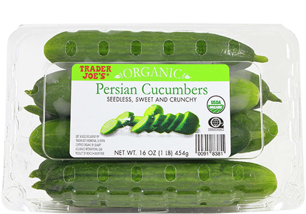 Trader Joe's Persian cucumbers are sold in plastic clam shells. Those who are interested in reducing plastic waste, should avoid buying these and find a source of cucumbers sold by the unit.