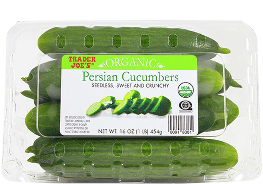 Trader Joe's Persian cucumbers are sold in plastic clam shells. Those who are interested in reducing plastic waste, should avoid buying these and find a source of cucumbers sold by the unit. Photo: Trader Joe's