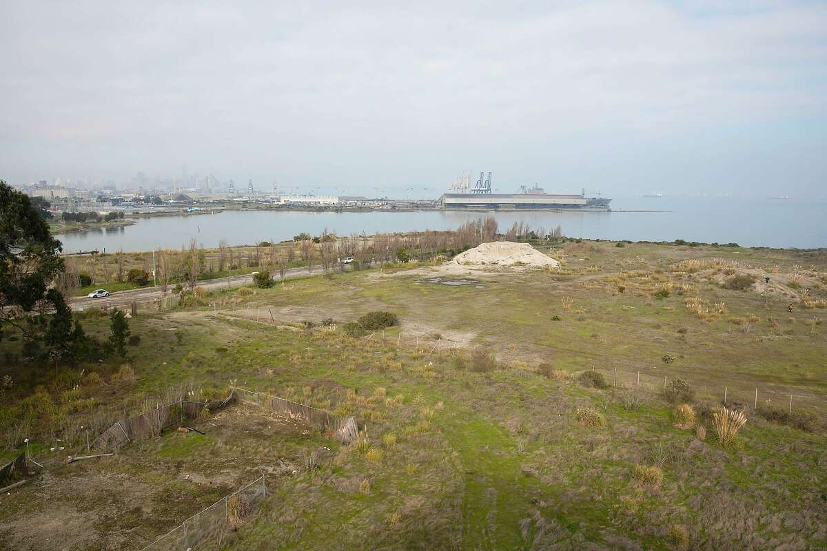 The view of the bay and part of the location for the India Basin project is seen from the upper deck at Archmides Banya, a Russian bathhouse in the Bayview.