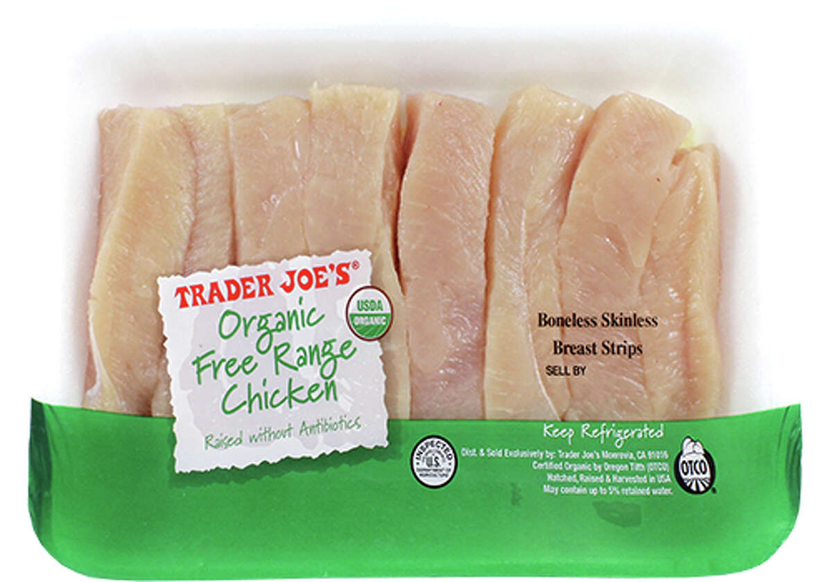 The store says it's eliminating styrofoam trays, like this one used for packaging chicken, from its produce section. No word on meat products. Customer's favorite Trader Joe's items of 2019 >>>