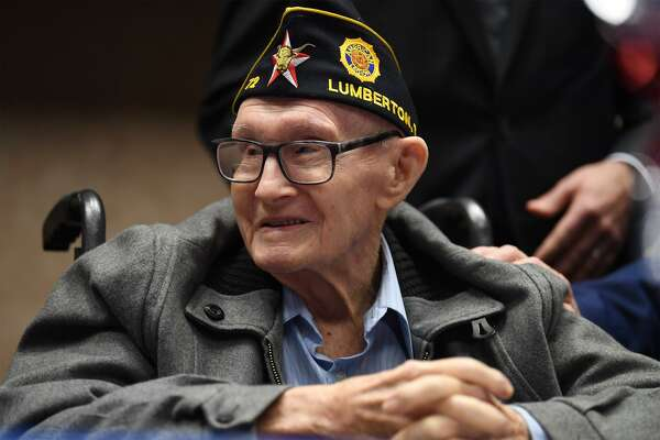 Lester Trauth 93 just before receiving the Medal of Knight in the French Legion of Honor at the Spindletop Center on Tuesday. The award was given to Trauth and William Lakey 95 that day for their efforts on French soil during World War II. Photo taken Tuesday, 12/11/18