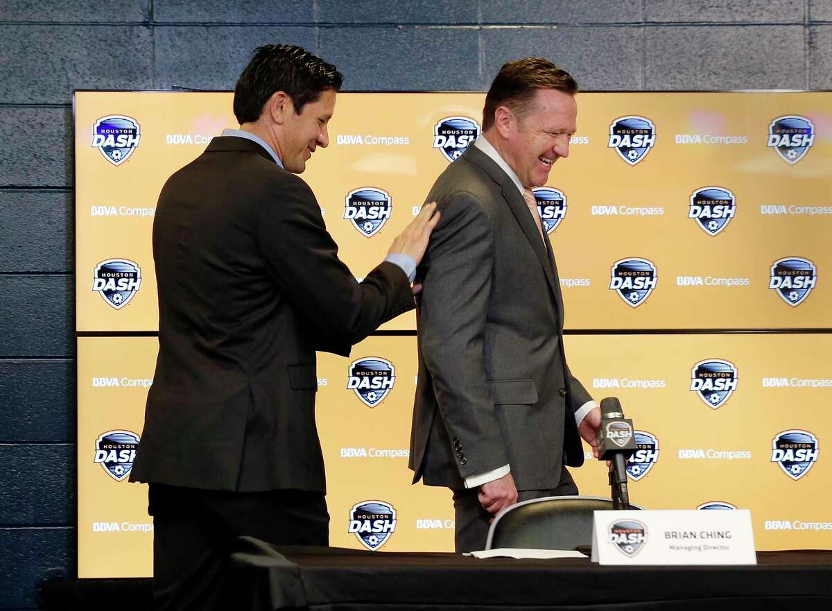 Dash managing director Brian Ching and new head coach James Clarkson enter the press room for a press conference announcing Clarkson as the new head coach of the Dash at BBVA Compass Stadium Tuesday, Dec. 11, 2018 in Houston, TX.