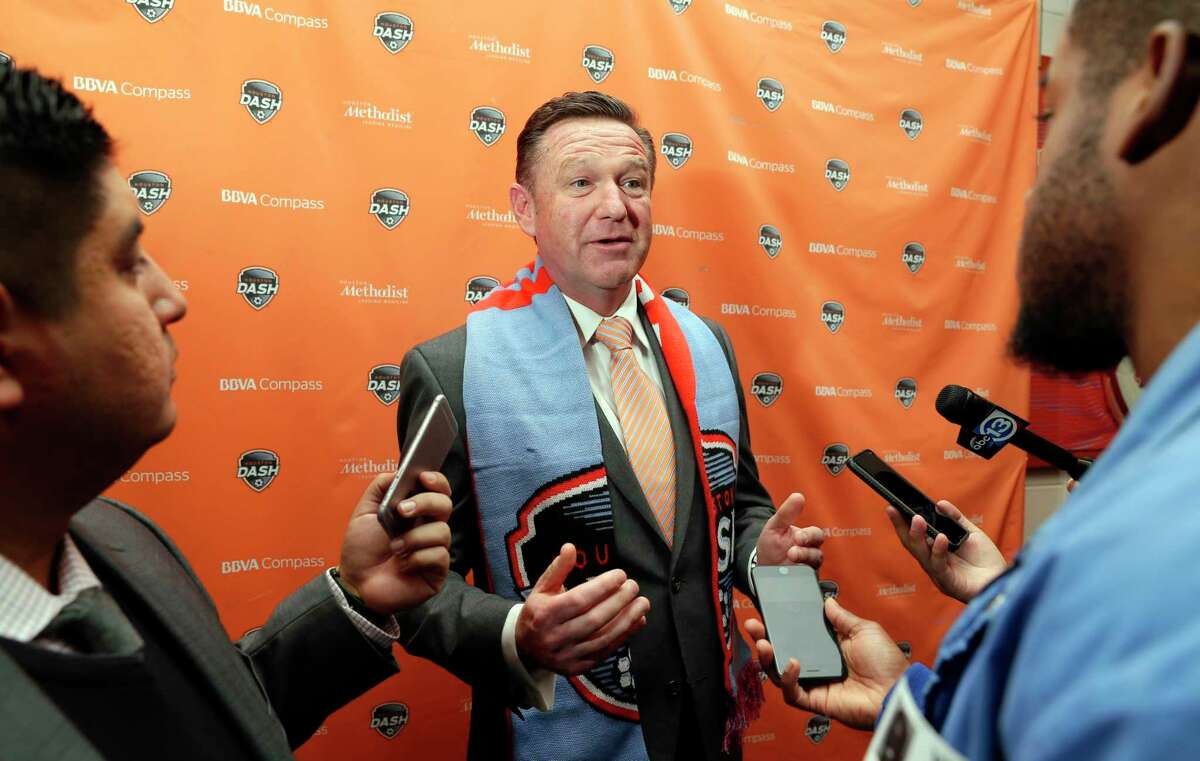 Newly named Dash head coach James Clarkson answers reporters questions questions after a press conference announcing Clarkson to the position at BBVA Compass Stadium Tuesday, Dec. 11, 2018 in Houston, TX.