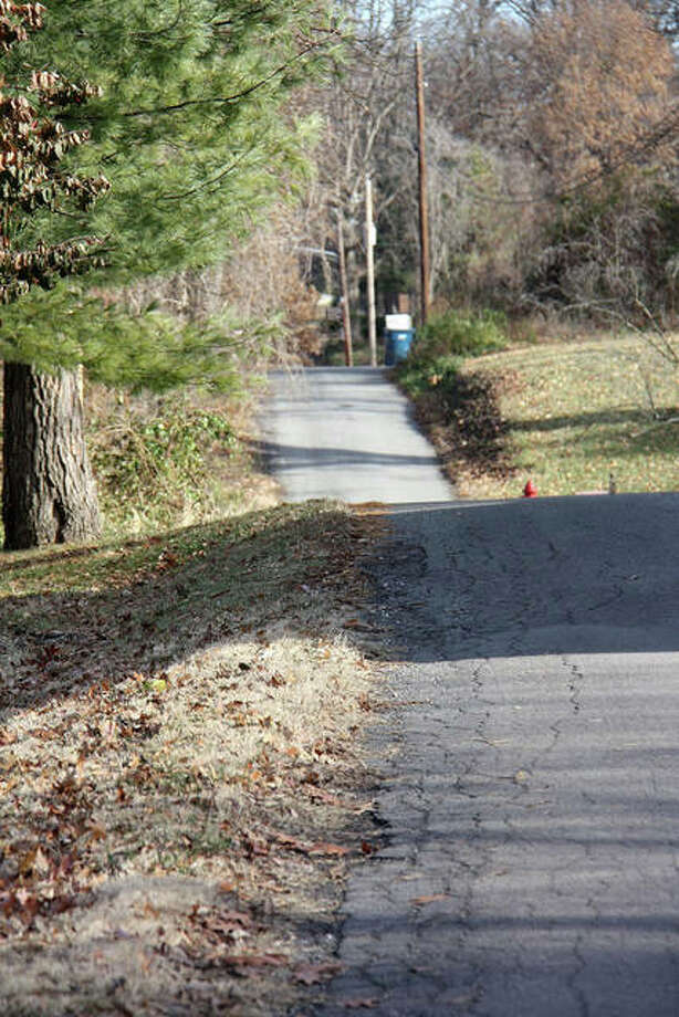 Two Hadley Lane residents attended the Edwardsville Public Safety Committee meeting on Monday to complain about the condition of a section of Hadley Lane, pictured. The view is looking east. Photo: Charles Bolinger | The Intelligencer