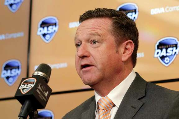 Newly named Dash head coach James Clarkson answers questions during a press conference announcing him to the position at BBVA Compass Stadium Tuesday, Dec. 11, 2018 in Houston, TX.