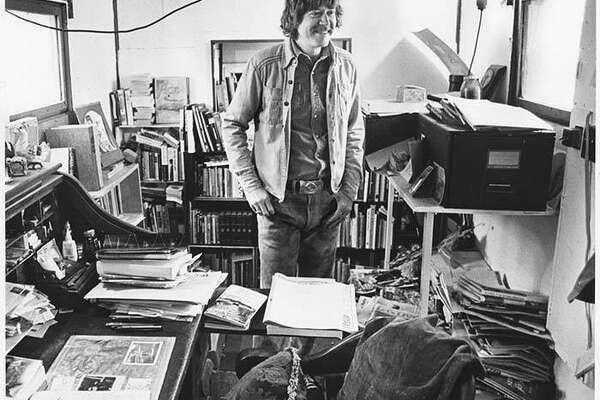 Tom Robbins in his home office, LaConner, April 16, 1978