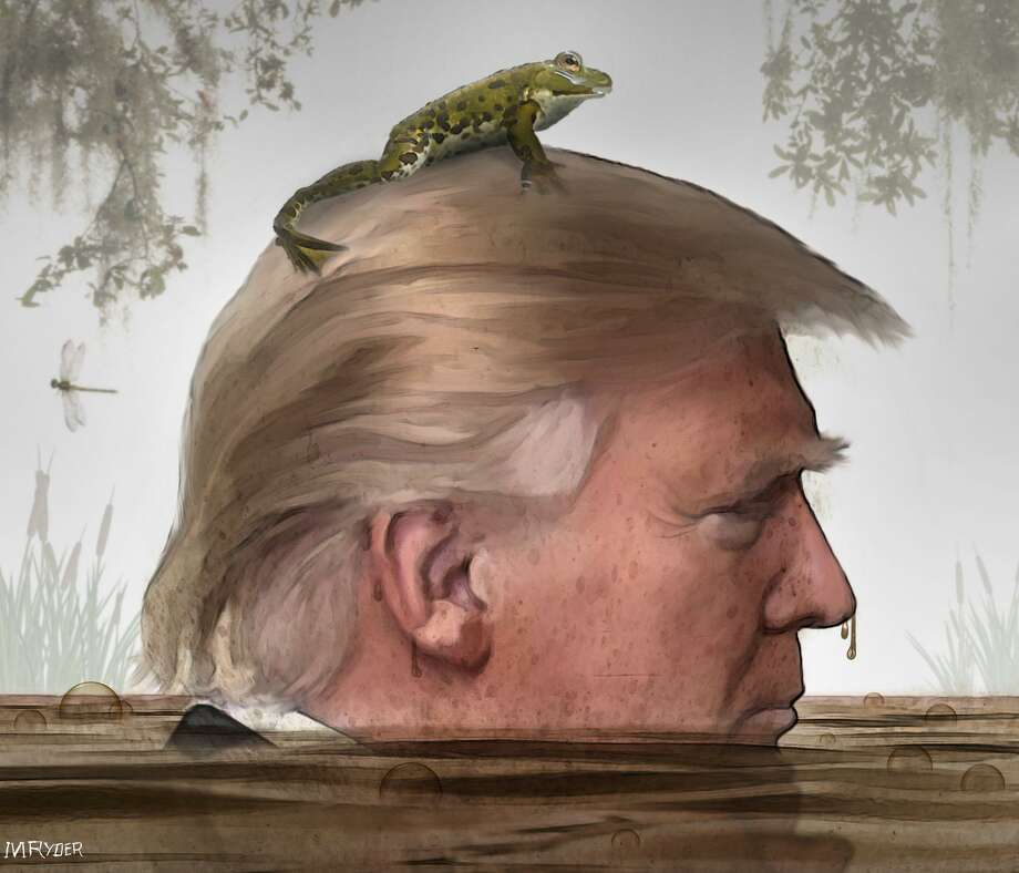 This artwork by M. Ryder refers to Donald Trump as The Swamp Thing, after his promises to clean the swamp. Photo: Tribune Content Agency / M. Ryder