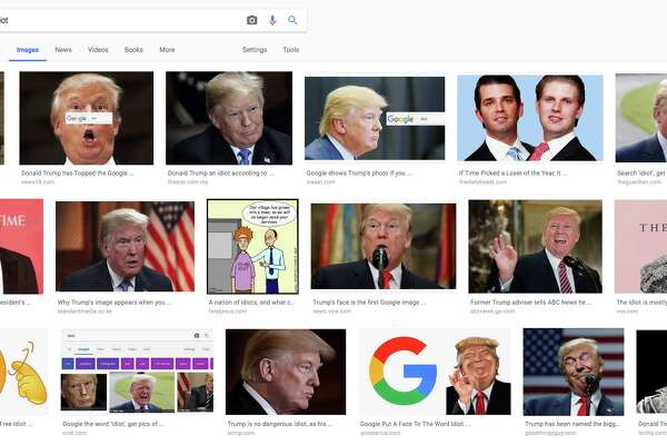 "Google returns images of President Donald Trump when a user searches for the word ""idiot."""