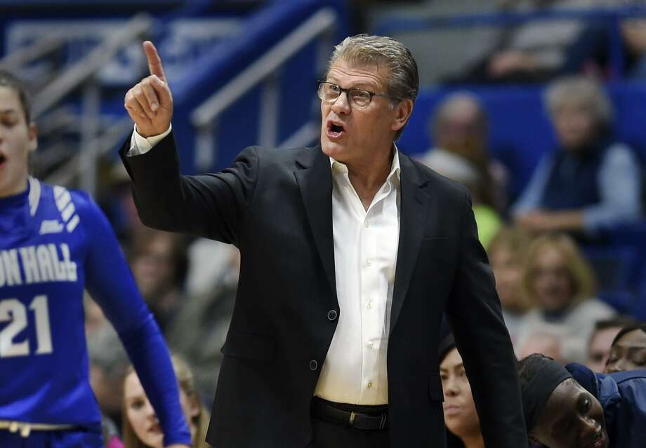 UConn coach Geno Auriemma directs his team against Seton Hall on Saturday in Hartford. UConn won 99-61. Photo: Stephen Dunn / Associated Press / Copyright 2018 The Associated Press. All rights reserved