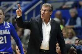 UConn coach Geno Auriemma directs his team against Seton Hall on Saturday in Hartford. UConn won 99-61.