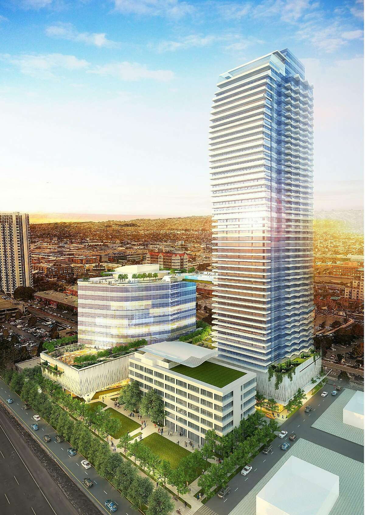 Emeryville is proposing a 54-story residential high-rise tower off Powell Street exit on Interstate 80, which would be the tallest building in the area and second tallest all-residential building in the western U.S.