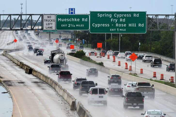 Construction of U.S. 290 is seen via the Barker Cypress overpass on Sept. 13.