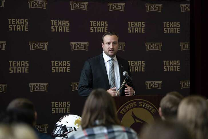 Texas State head football coach Jake Spavital speaks during his introductory news conference on Nov. 30 in San Marcos.