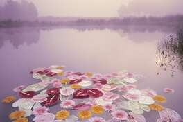 Beautiful misty morning with group of colorful Anthurium and Gerbera flowers floating in lake.