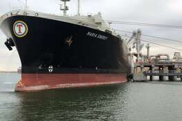 A Liberian-flagged tanker named the Maria Energy left Cheniere Energy's recently completed Port of Corpus Christi facility with the first shipment of liquefied natural gas on the morning of Thursday, December 11, 2018. The shipment marked the first LNG export from Texas. (Cheniere Energy photo)