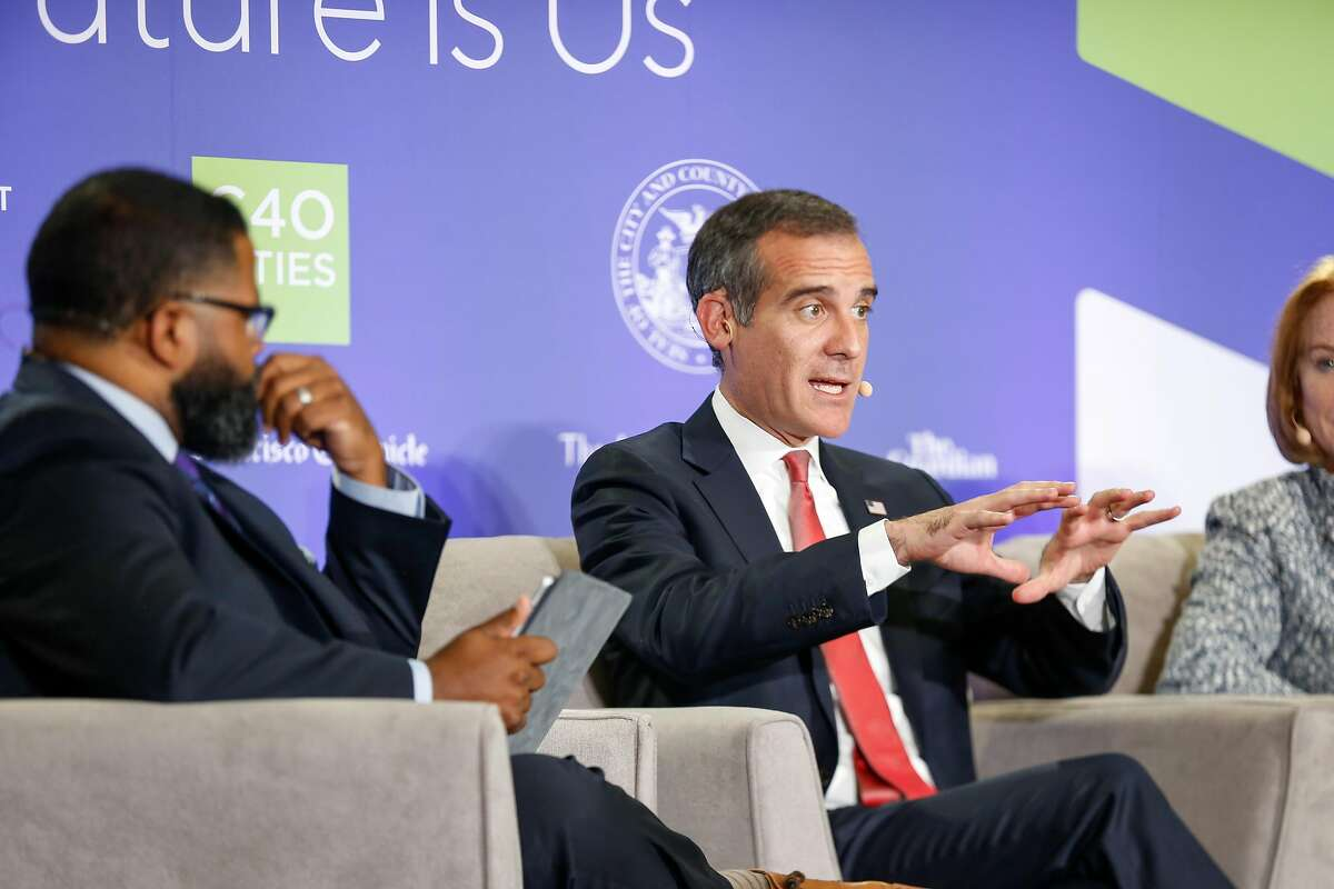 """Los Angeles Mayor Eric Garcetti speaks during the """"U.S. Mayors Leading The Way"""" panel at the Global Climate Action Summit on Wednesday, September 12, 2018 in San Francisco, Calif."""