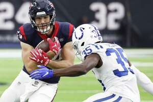 Tight end Ryan Griffin, left, led the Texans with 80 receiving yards on five catches in Sunday's 24-21 loss to the Colts.