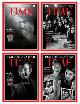 Time magazine has chosen ''The Guardians,'' a group of journalists who have been targeted for their work, as Person of the Year. All were photographed by Moises Saman/Magnum for the magazine. TIME produced a series of four black and white covers to highlight what the magazine calls ''the War on Truth.'' The covers include Jamal Khashoggi, the Washington Post contributor who was killed at the Saudi Arabian consulate in Istanbul. Marking the first time that a Person of the Year is a deceased person. Another cover features Wa Lone and Kyaw Soe Oo, two Reuters journalists who were arrested in Myanmar while covering the killings of Rohingya Muslims. The two journalists are still in prison. Their wives were photographed for the cover. The journalists at the Capital Gazette are also included, from the Annapolis, Maryland newspaper where five employees were killed by a gunman. The fourth cover is Maria Ressa, chief executive of the Philippine news website Rappler. She has been recently indicted on tax evasion charges. Free speech and civil liberties groups claim this is part of a wide ranging crackdown on dissent by Philippine President Rodrigo Duterte's and his administration. (Moises Saman/Magnum/TIME/Zuma Press/TNS)