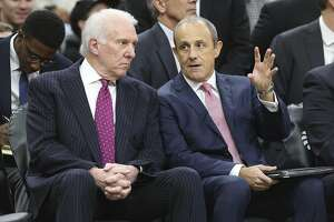Spurs head coach Gregg Popovich (left) and Assistant Coach Ettore Messina talk during the Spurs game against the Memphis Grizzlies at the AT&T Center on Wednesday, Nov. 21, 2018. (Kin Man Hui/San Antonio Express-News)
